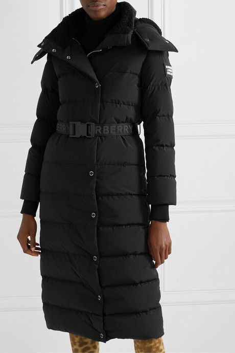 Belted faux shearling-trimmed hooded quilted shell down coat