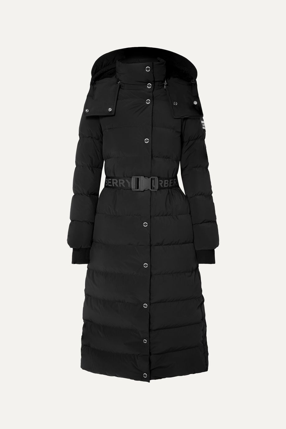 Burberry Belted faux shearling-trimmed hooded quilted shell down coat