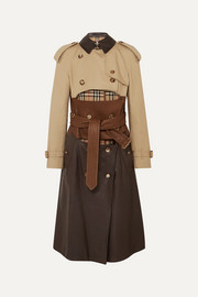 Paneled leather, cotton-gabardine and canvas trench coat