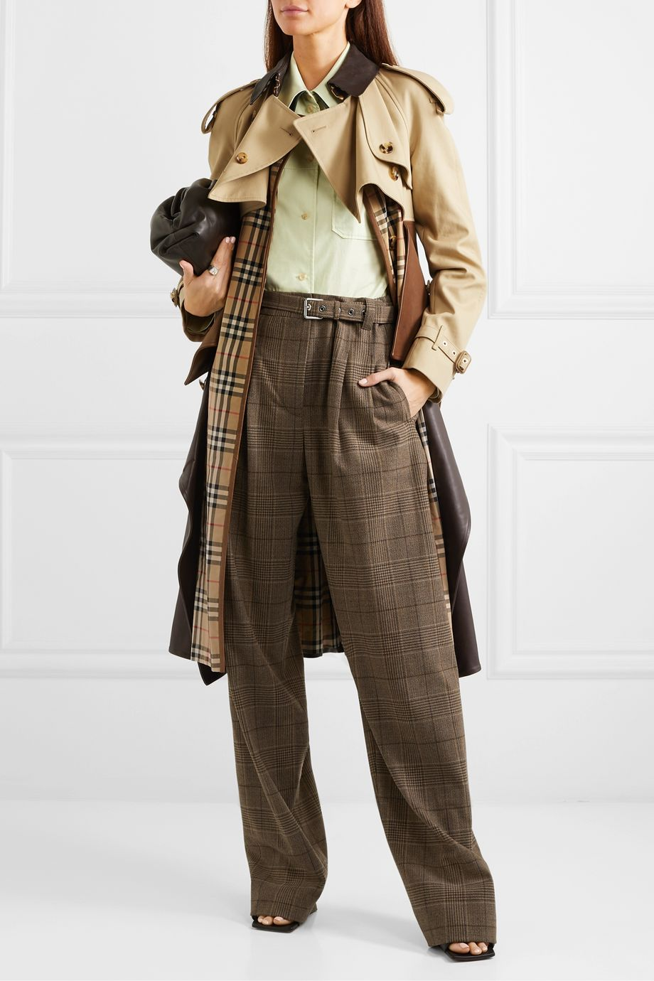 Burberry Paneled leather, cotton-gabardine and canvas trench coat
