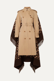 Burberry Fringed merino wool and cashmere-blend jacquard and cotton-gabardine trench coat