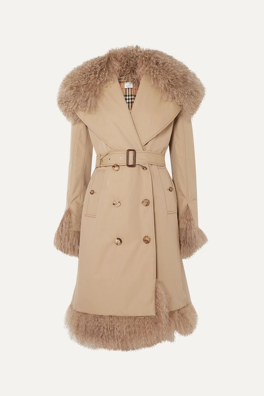 Burberry Double-breasted shearling-trimmed cotton-gabardine coat