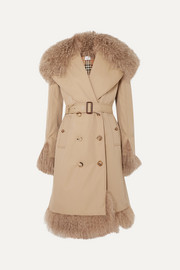 Double-breasted shearling-trimmed cotton-gabardine coat