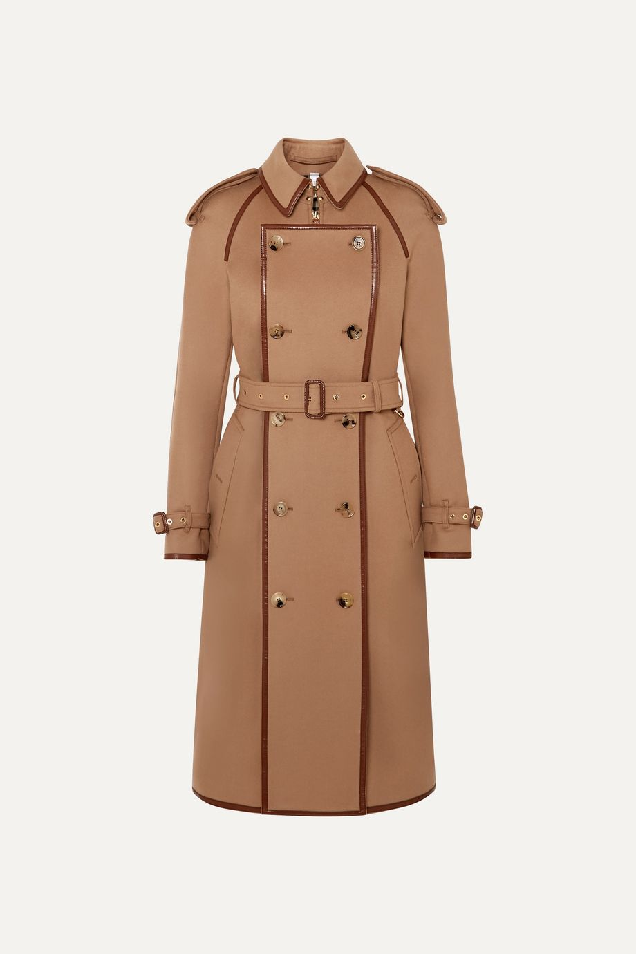 Burberry Convertible leather-trimmed wool and cashmere-blend trench coat
