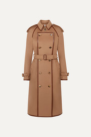 Convertible leather-trimmed wool and cashmere-blend trench coat