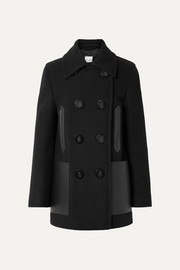 Double-breasted leather-trimmed wool-blend coat