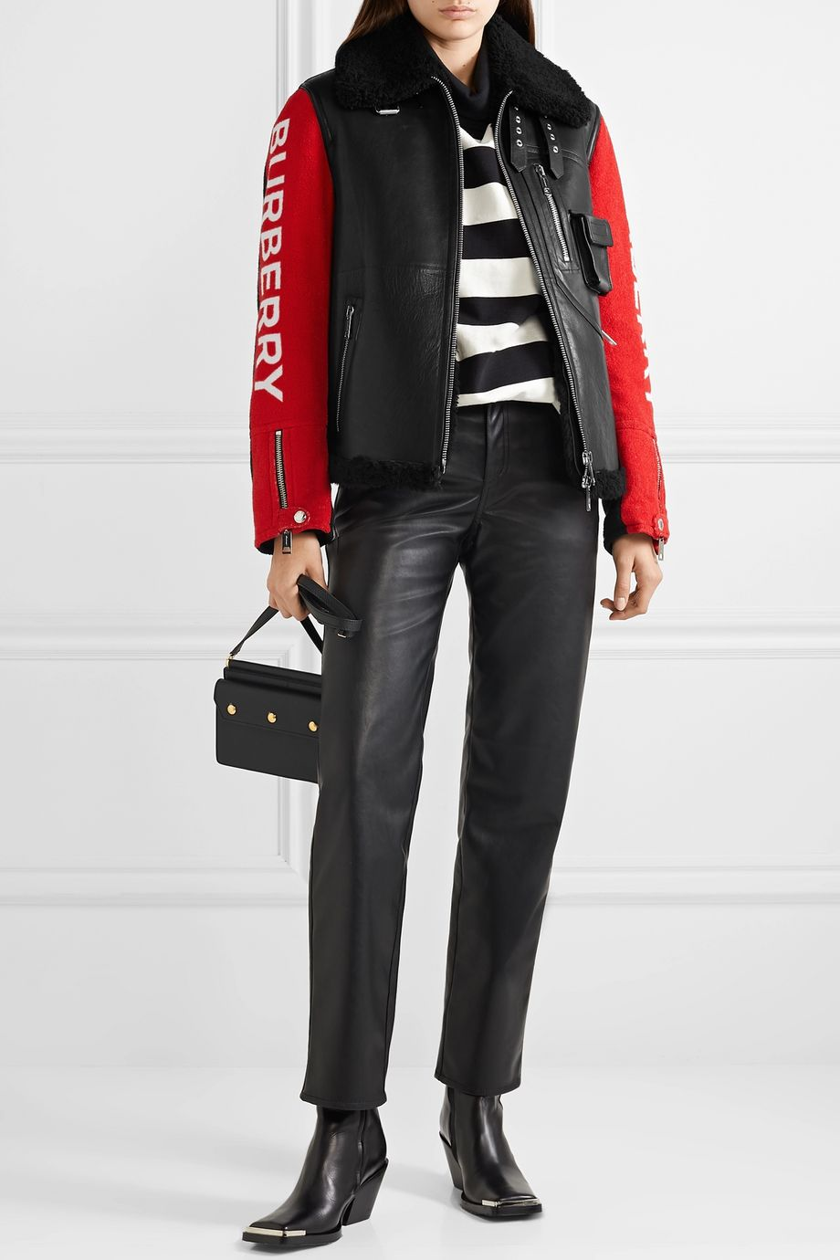 Burberry Paneled leather, shearling and cotton-terry jacket