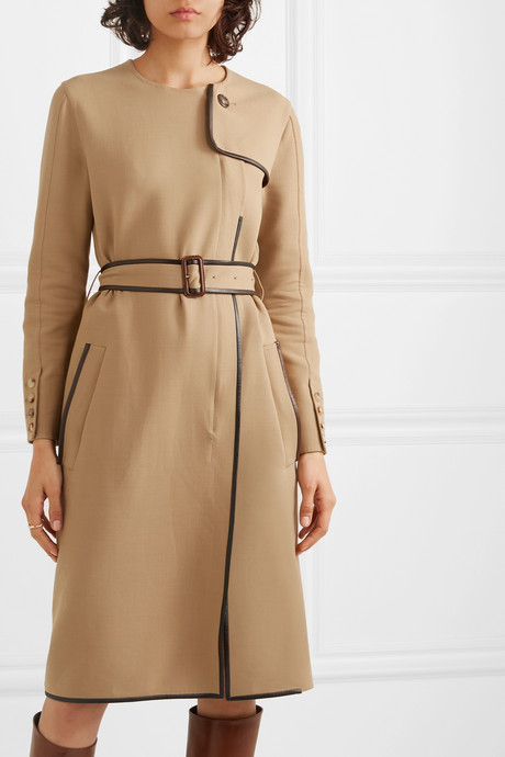 Belted leather-trimmed cady midi dress