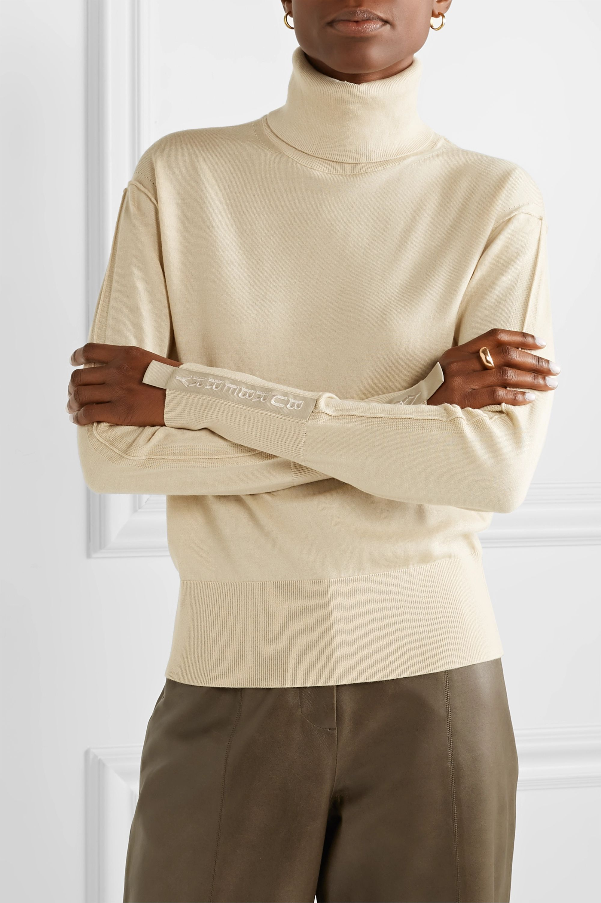 Burberry Nabuna embroidered merino wool and silk-blend sweater
