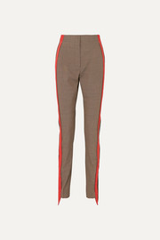 Burberry Jersey-trimmed houndstooth wool and cotton-blend straight-leg pants