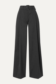 Dries Van Noten Podium belted pinstriped twill wide-leg pants