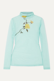 Floral-print stretch-tulle turtleneck top
