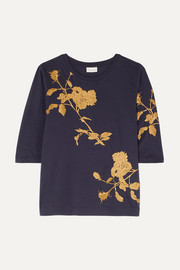 Hefiza metallic floral-embroidered cotton-jersey T-shirt