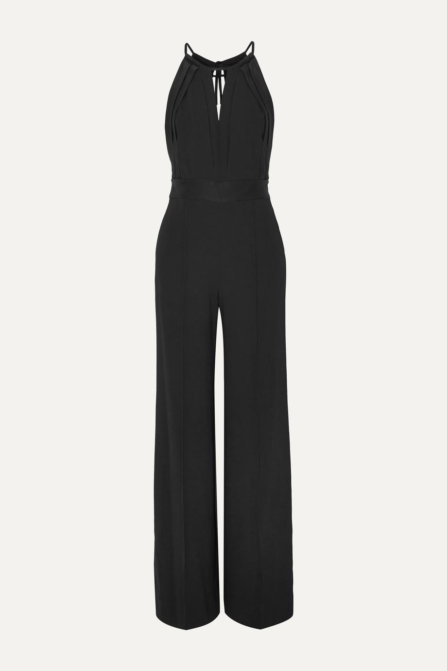 Diane von Furstenberg Ireland open-back satin-trimmed crepe halterneck jumpsuit