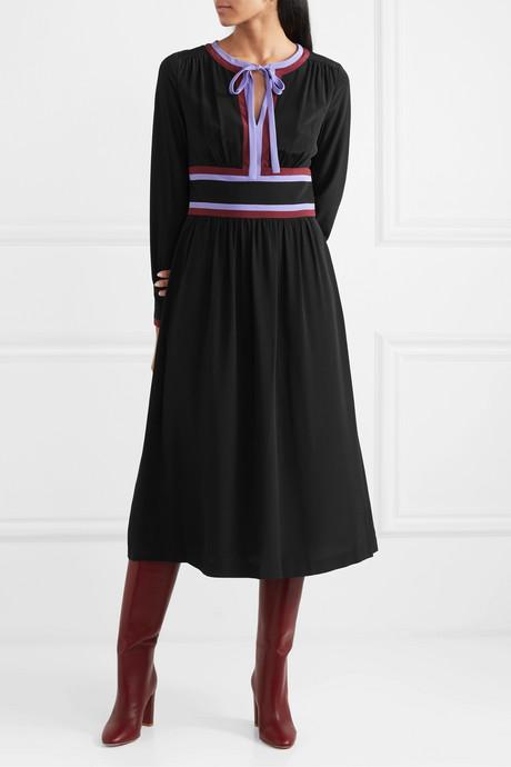 Cherry striped silk-crepe midi dress