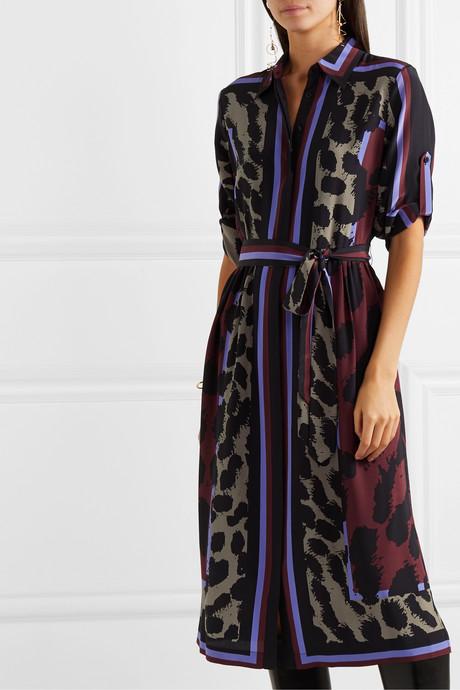 Sogol belted printed silk crepe de chine midi dress