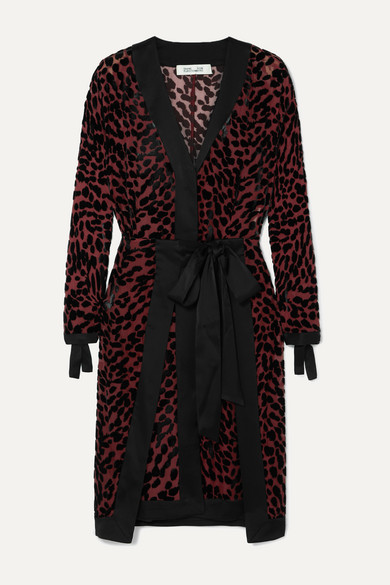 Diane Von Furstenberg Dress Pianna satin-trimmed leopard-print devoré-chiffon wrap dress