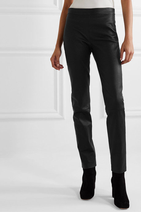 Claudia leather slim-leg pants