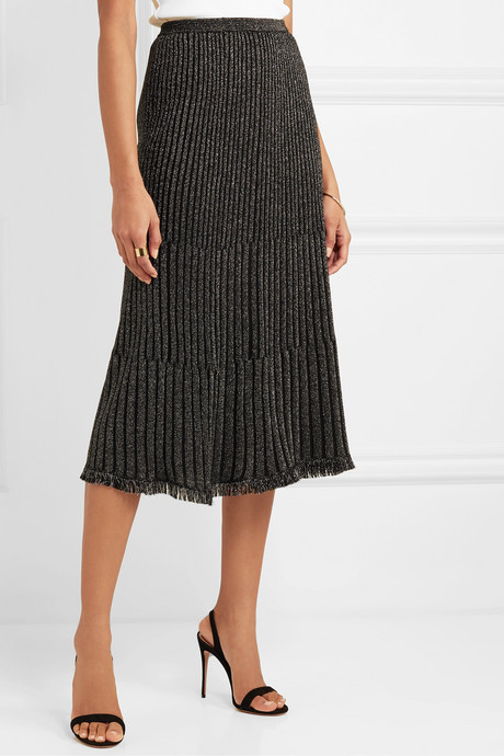 Brooklyn fringed ribbed metallic merino wool-blend midi skirt