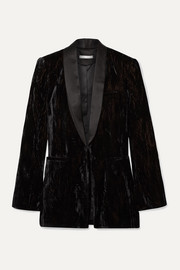Lola satin-trimmed crushed-velvet blazer