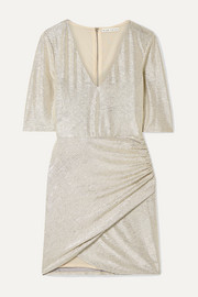 Alice + Olivia Judy ruched textured-lamé mini dress
