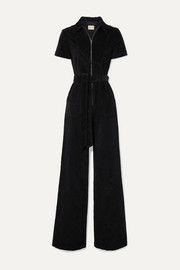 Alice + Olivia Gorgeous belted cotton-blend corduroy jumpsuit