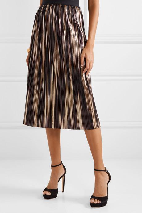 Mikaela pleated two-tone lamé midi skirt