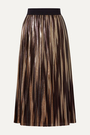 Alice + Olivia Mikaela pleated two-tone lamé midi skirt
