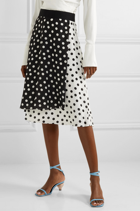 Nanette wrap-effect polka-dot silk crepe de chine midi skirt