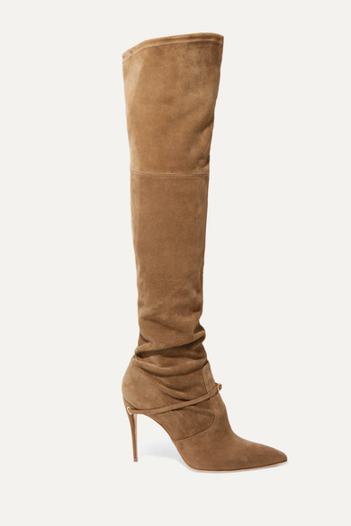 Jennifer Chamandi Alessandro 105 Suede Over-The-Knee Boots In Beige