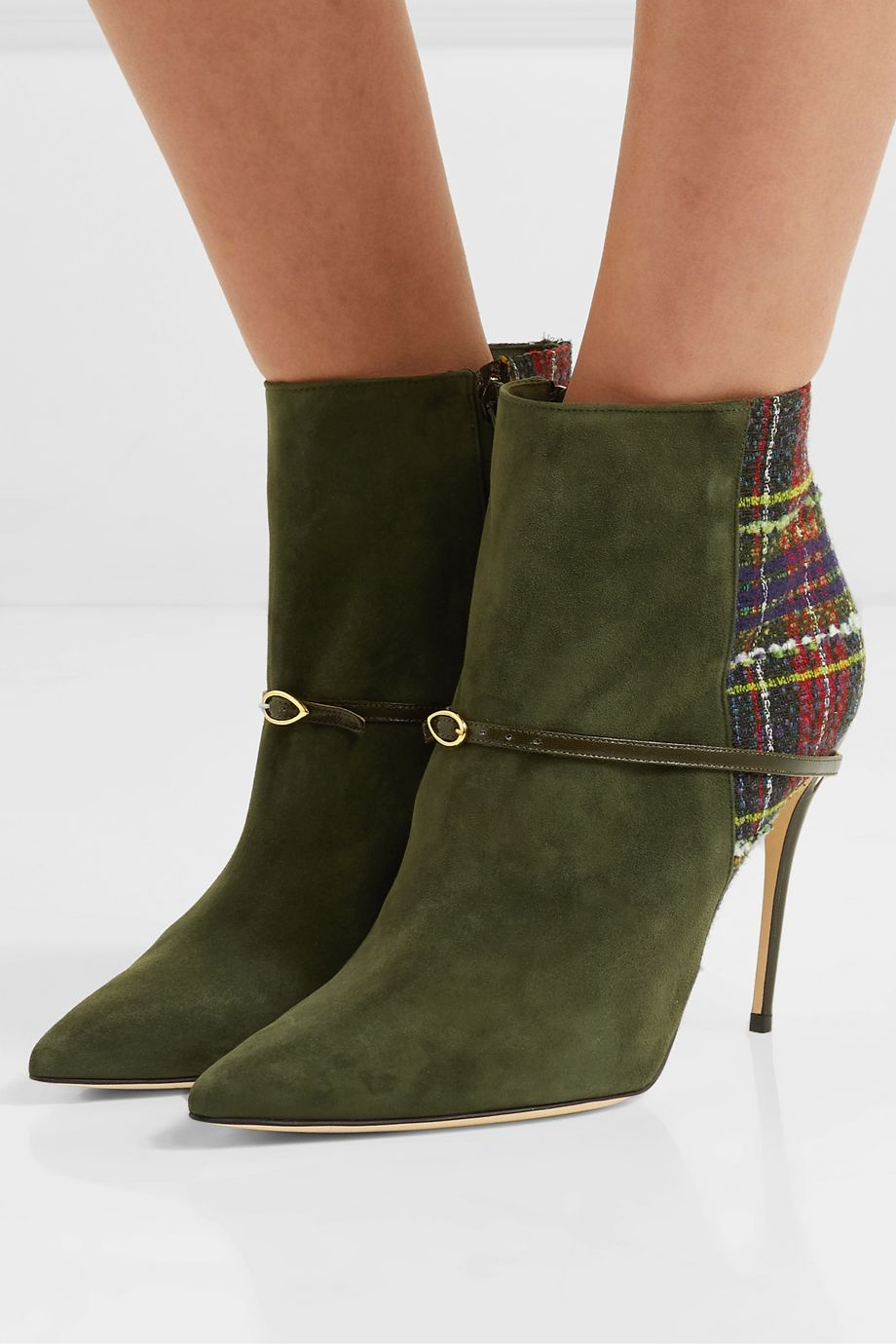 Jennifer Chamandi Nicoló 105 suede and checked bouclé-tweed ankle boots