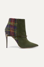 Nicoló 105 suede and checked bouclé-tweed ankle boots