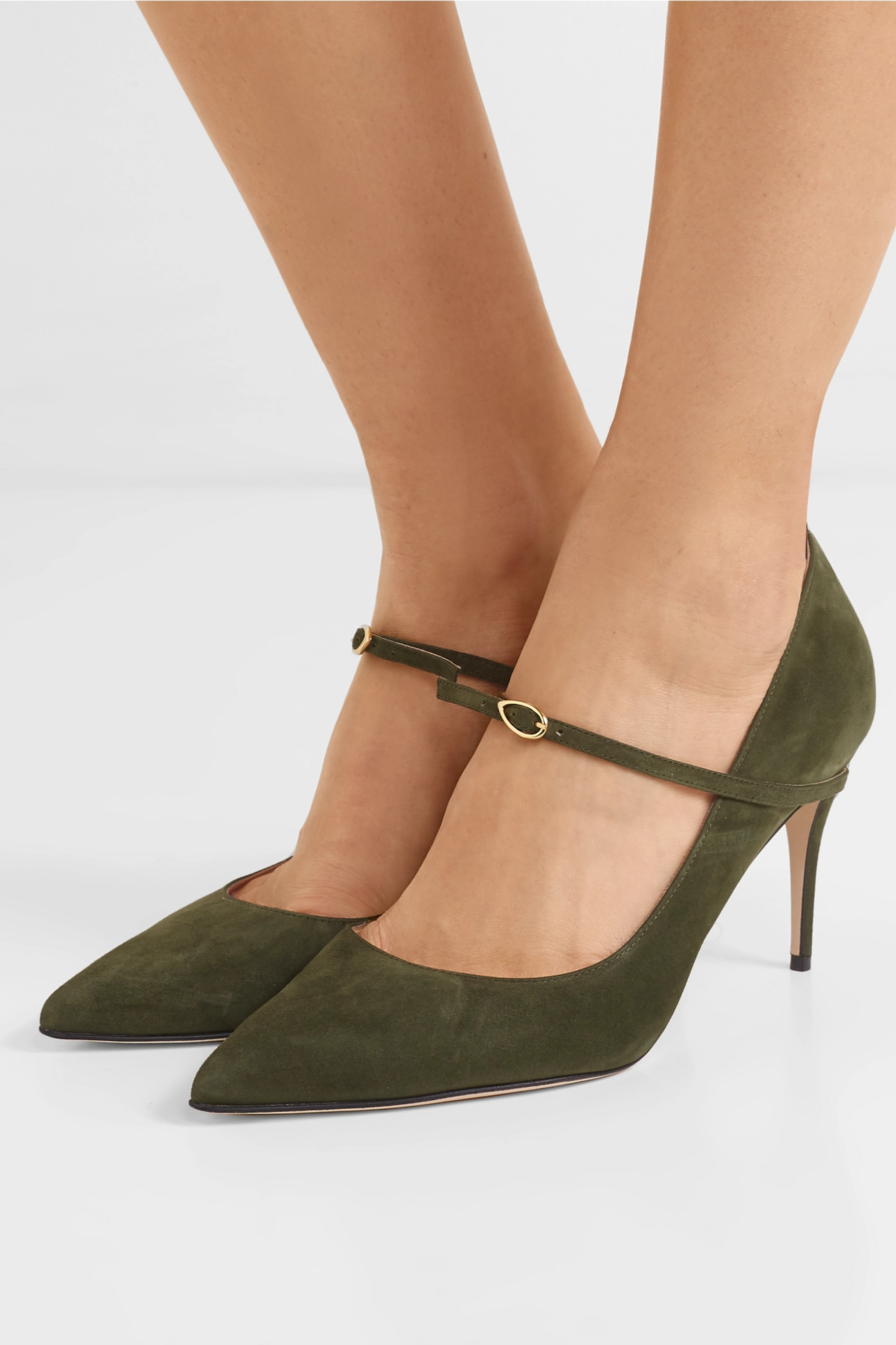 Army green Lorenzo 85 suede pumps