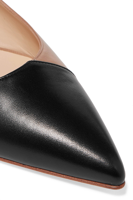 Beige Lorenzo Two-tone Leather Point-toe Flats | Jennifer Chamandi