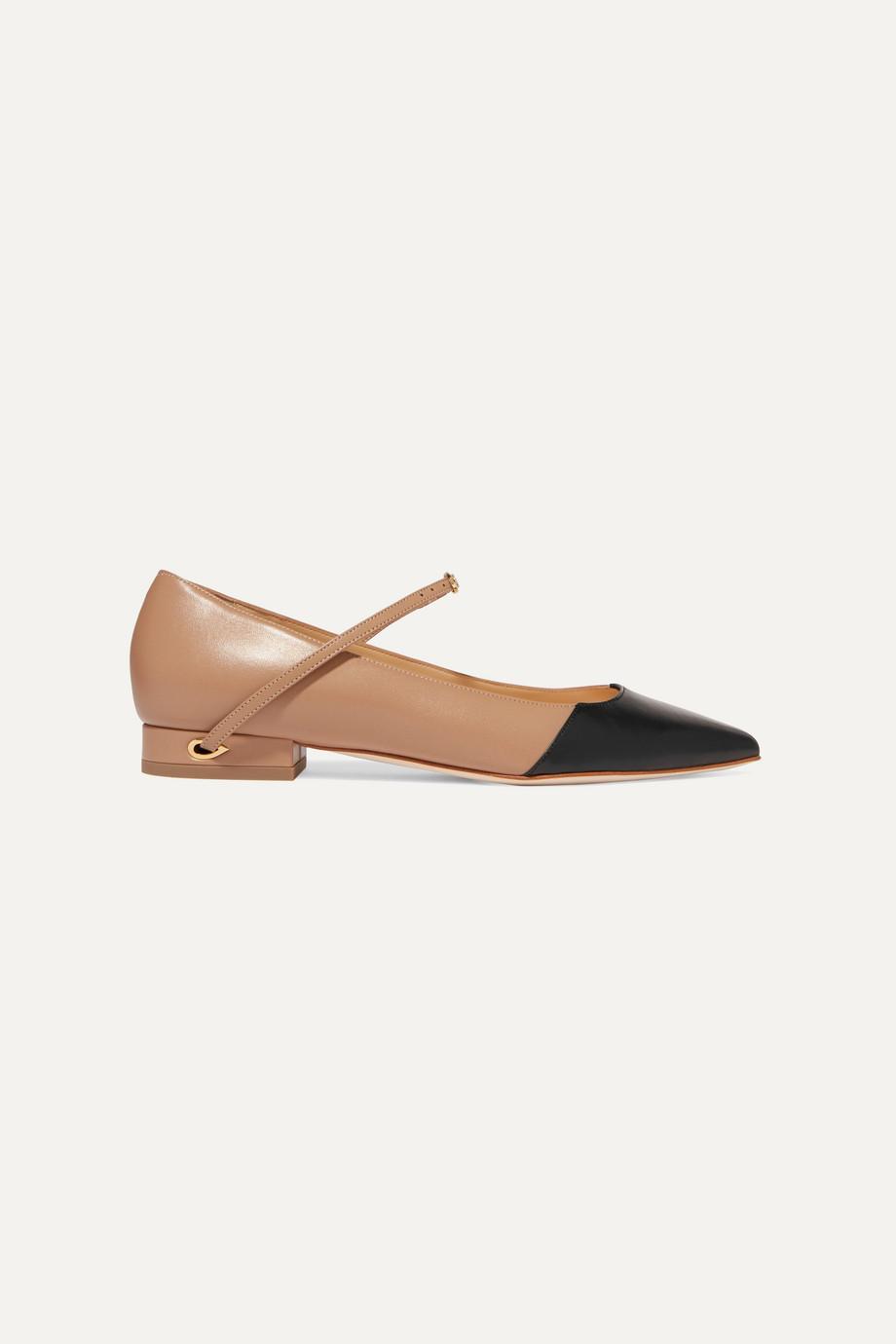 Jennifer Chamandi Lorenzo two-tone leather point-toe flats