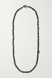Oxidized sterling silver, wood and diamond necklace
