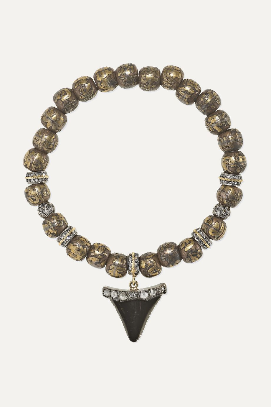 Loree Rodkin 18-karat rhodium white gold yellow gold diamond bracelet