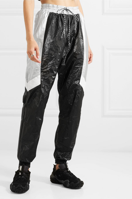 Color-block metallic shell tapered track pants