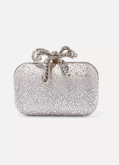 Jimmy Choo Cloud Ballet Pink Sprinkled Crystals On Mesh Clutch Bag With Crystal Bow Clasp In Ballet Pink/crystal