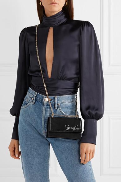 Jimmy Choo Shoulder Leni crystal-embellished suede shoulder bag