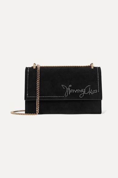 JIMMY CHOO | Jimmy Choo - Leni Crystal-Embellished Suede Shoulder Bag - Black | Goxip