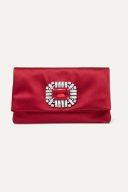 Jimmy Choo Tatiania crystal-embellished satin clutch