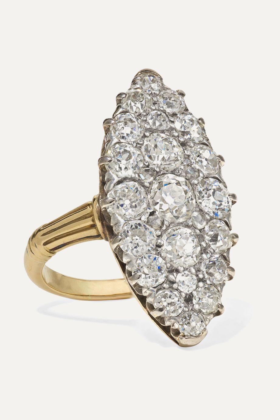 Fred Leighton 1900s 18-karat gold, silver and diamond ring