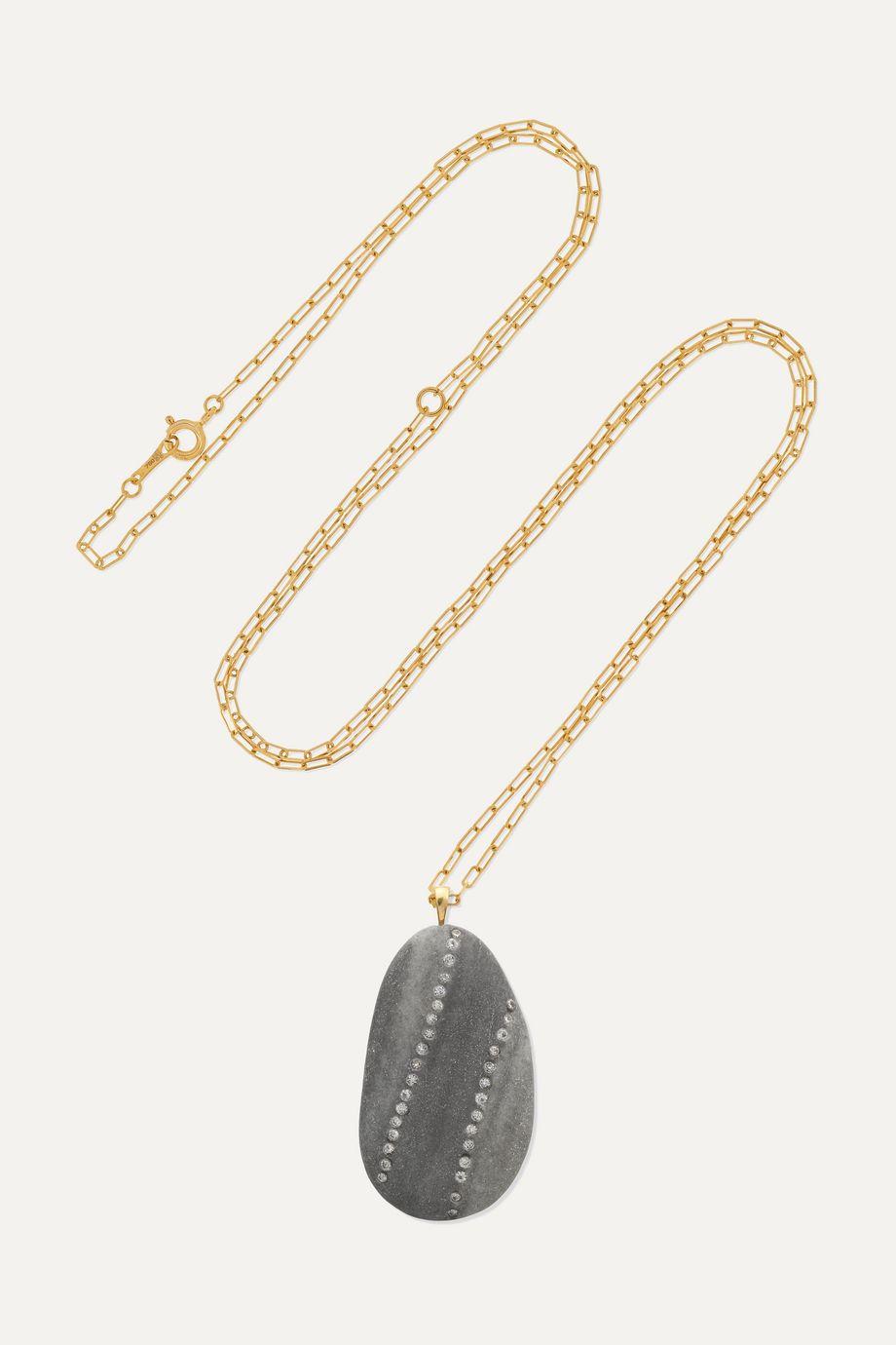 CVC Stones Loyal Kette aus 18 Karat Gold mit Kieselstein und Diamanten