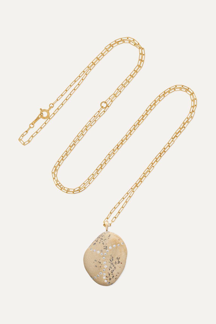 CVC Stones Surge Kette aus 18 Karat Gold mit Kieselstein und Diamanten