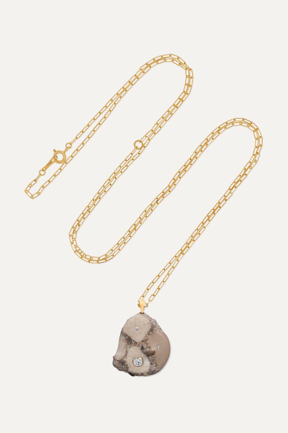 CVC Stones Create Kette aus 18 Karat Gold mit Kieselstein und Diamanten