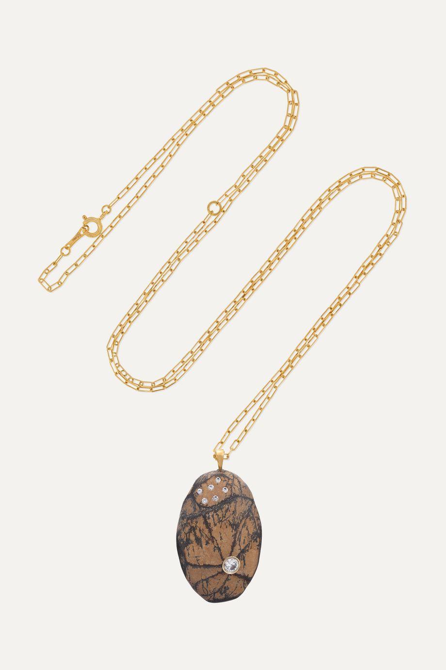 CVC Stones Ablaze Kette aus 18 Karat Gold mit Kieselstein und Diamanten