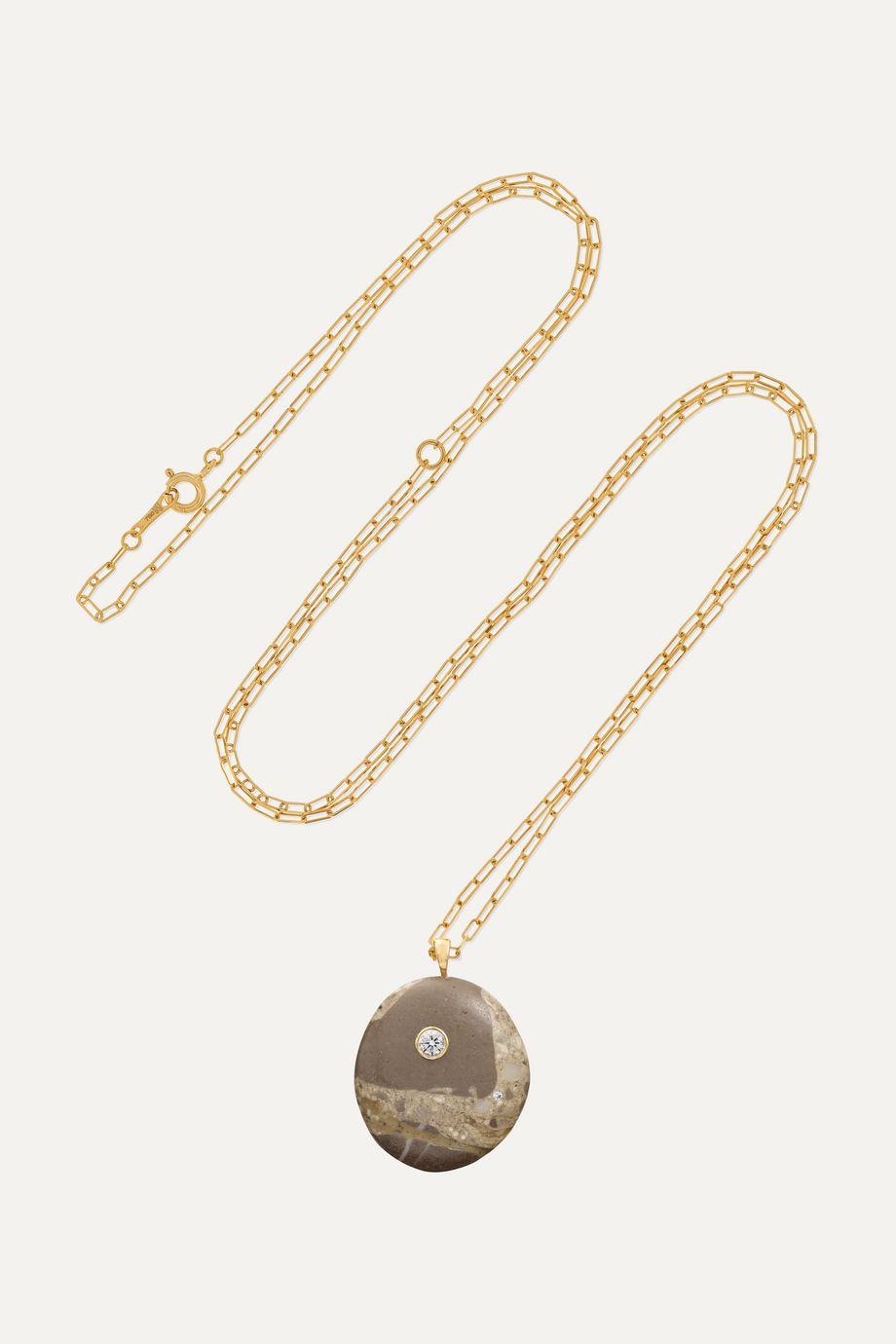 CVC Stones Mottle Kette aus 18 Karat Gold mit Kieselstein und Diamanten