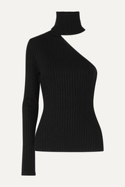 The Range One-shoulder ribbed stretch-knit turtleneck top
