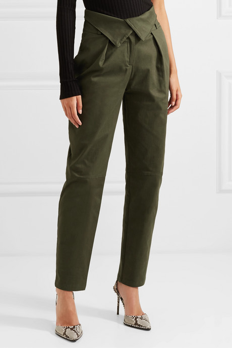 Stretch-cotton twill tapered pants